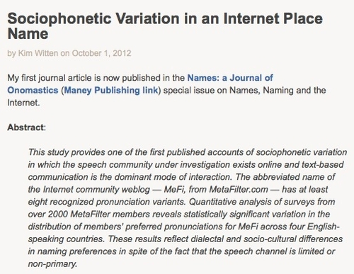 Sociophonetic Variation in an Internet Place Name by Kim Witten
