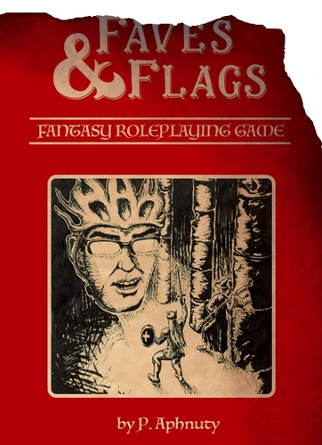 Flags & Faves player manual cover, featuring floating head of mathowie