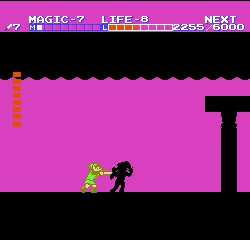 Link battles his shadow doppelganger in Zelda II
