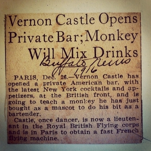 News article: Vernon castle opens private bar; monkey will mix drinks