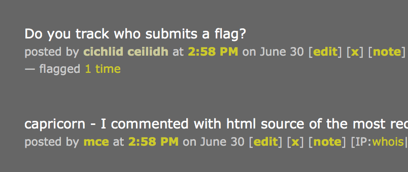 screenshot of mod inline flag view, not expanded