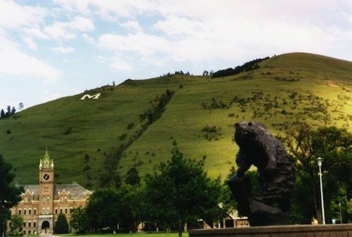 photo of M overlooking the University of Montana from Mount Sentinel in Missoula