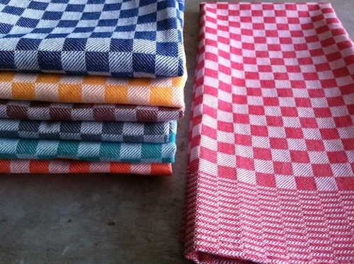 bright colored kitchen towels