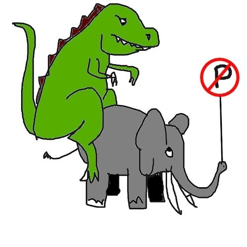 MS Paint drawing of a dinosaur on an elephant holding a no parking sign