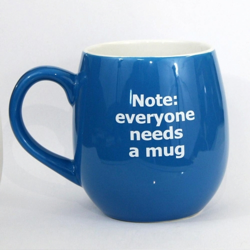 blue mug with white text