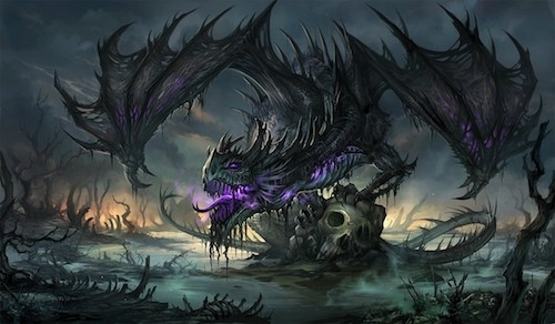 illustration of frightening semi-skeletal black dragon perched on skull in dark and poisonous marsh